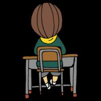 教室の席に座る後ろ姿の男の子のフリーイラスト