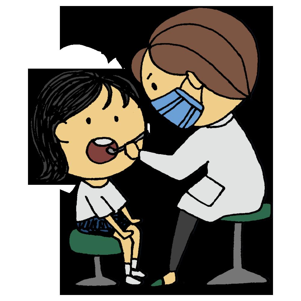 歯科検診をしてもらう女の子のフリーイラスト