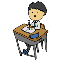 手書き風,教室,授業,学生,男の子,男子学生,中学生,高校生,高校,人物,机,椅子,学校,クラス,勉強,学習,天然パーマ―,天パ,癖っ毛