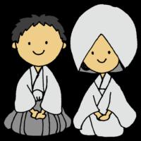手書き風,人物,男性,女性,白無垢,袴,着物,和装,日本,神社,結婚式,ウエディング,イベント,めでたい,おめでたい,おめでとうございます,結婚,新郎,新婦,夫婦,家族,お祝い