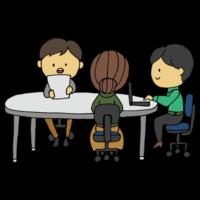 手書き風,人物,男性,女性,仕事,サラリーマン,会議,ミーティング,話す,会話,トーク,コミュニケーション,決める,決定,話し合い,意見交換,発表,プレゼン,企画,案,通す,人達,働く,丸テーブル,会議,囲む,PC,パソコン