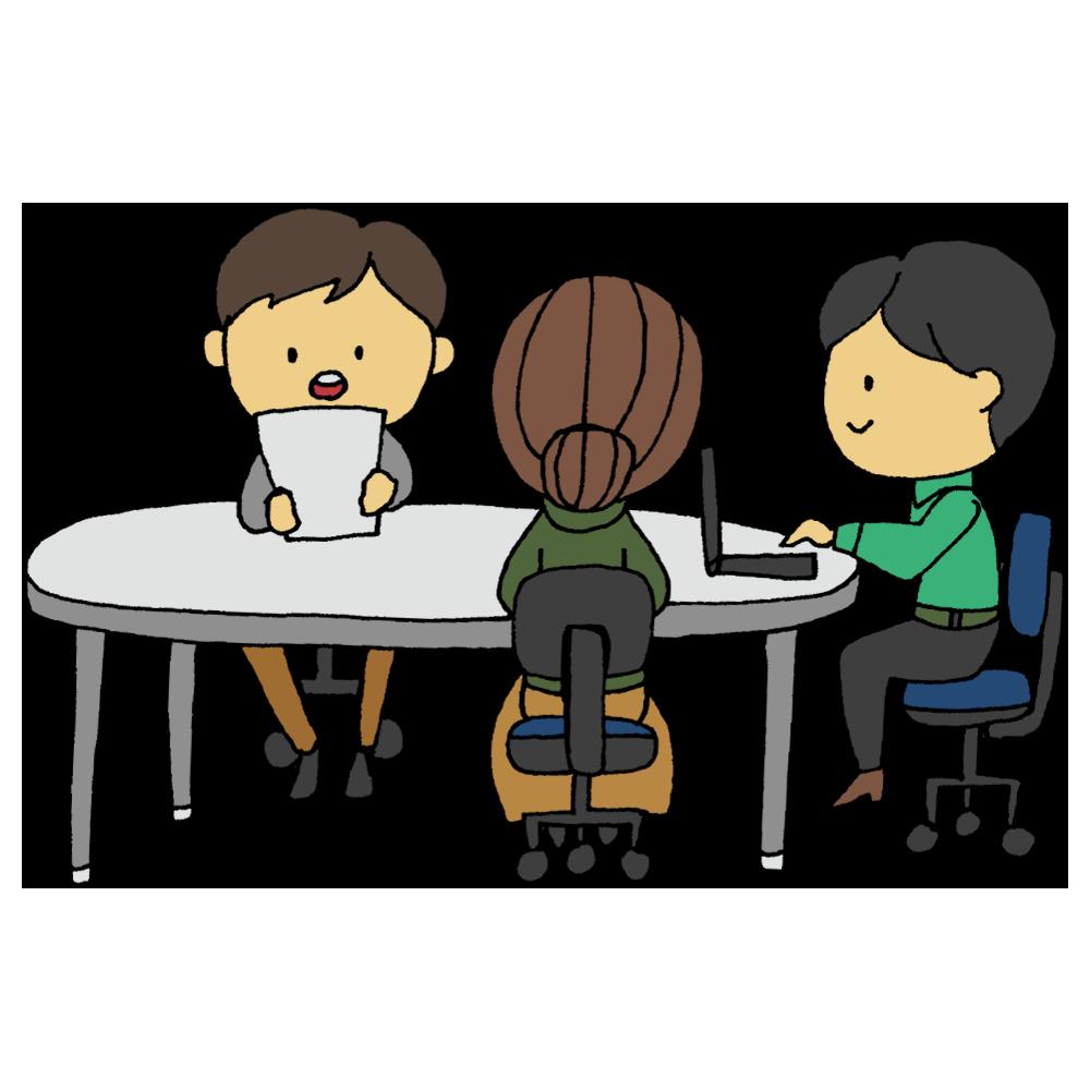手書き風,人物,男性,女性,仕事,サラリーマン,会議,ミーティング,話す,会話,トーク,コミュニケーション,決める,決定,話し合い,意見交換,発表,プレゼン,企画,案,通す,人達,働く,丸テーブル,会議,囲む