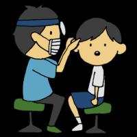 手書き風,人物,男の子,耳鼻科,耳,検診,見る,検査,健診,耳鼻科健診,耳鼻科検診,診てもらう,健康診断,学校,学生,子供,鼻,医療,医者,男性