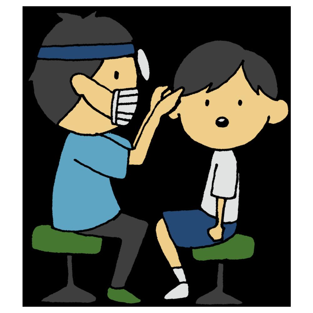 耳鼻科検診をしてもらう男の子のフリーイラスト
