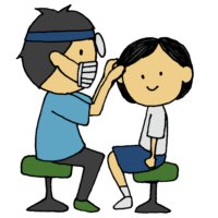 手書き風,人物,女の子,耳鼻科,耳,検診,見る,検査,健診,耳鼻科健診,耳鼻科検診,診てもらう,健康診断,学校,学生,子供,鼻,医療,医者,男性