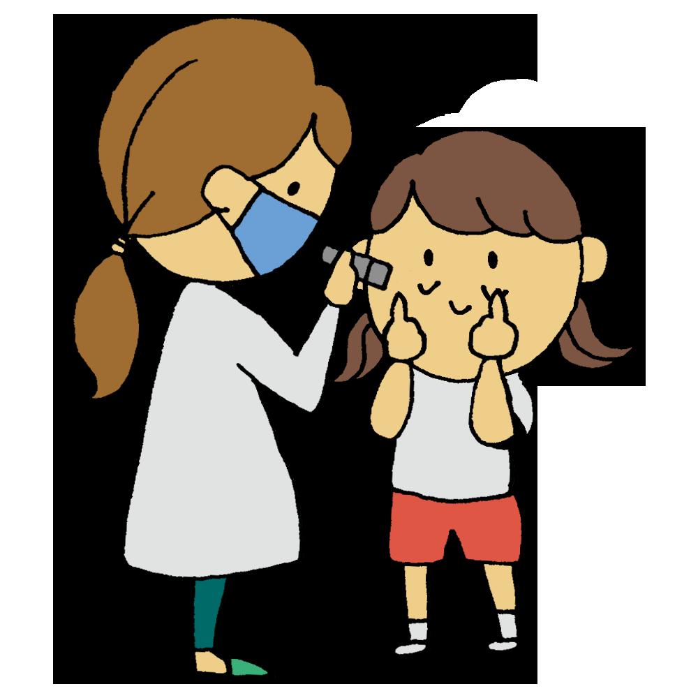 眼科検診をしてもらう女の子のフリーイラスト