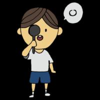 手書き風,人物,男の子,視力,視力検査,目,検査,診断,健康診断,健診,検診,保健,学校,眼科,眼鏡,見える,見えない,医療,病院,医学