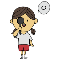 手書き風,人物,女の子,視力,視力検査,目,検査,診断,健康診断,健診,検診,保健,学校,眼科,眼鏡,見える,見えない,医療,病院,医学