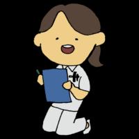 手書き風,人物,女性,カルテ,仕事,働く女性,病院,ナース,医療,医学,看護,看護師,診療所,診察,診療所,クリニック,しゃがむ,座る