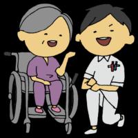 手書き風,人物,男性,仕事,働く,病院,ナース,医療,医学,看護,看護師,診療所,診察,診療所,クリニック,しゃがむ,座る,車椅子,患者,患者さん,女性,高齢,老人,白髪,足腰が弱い