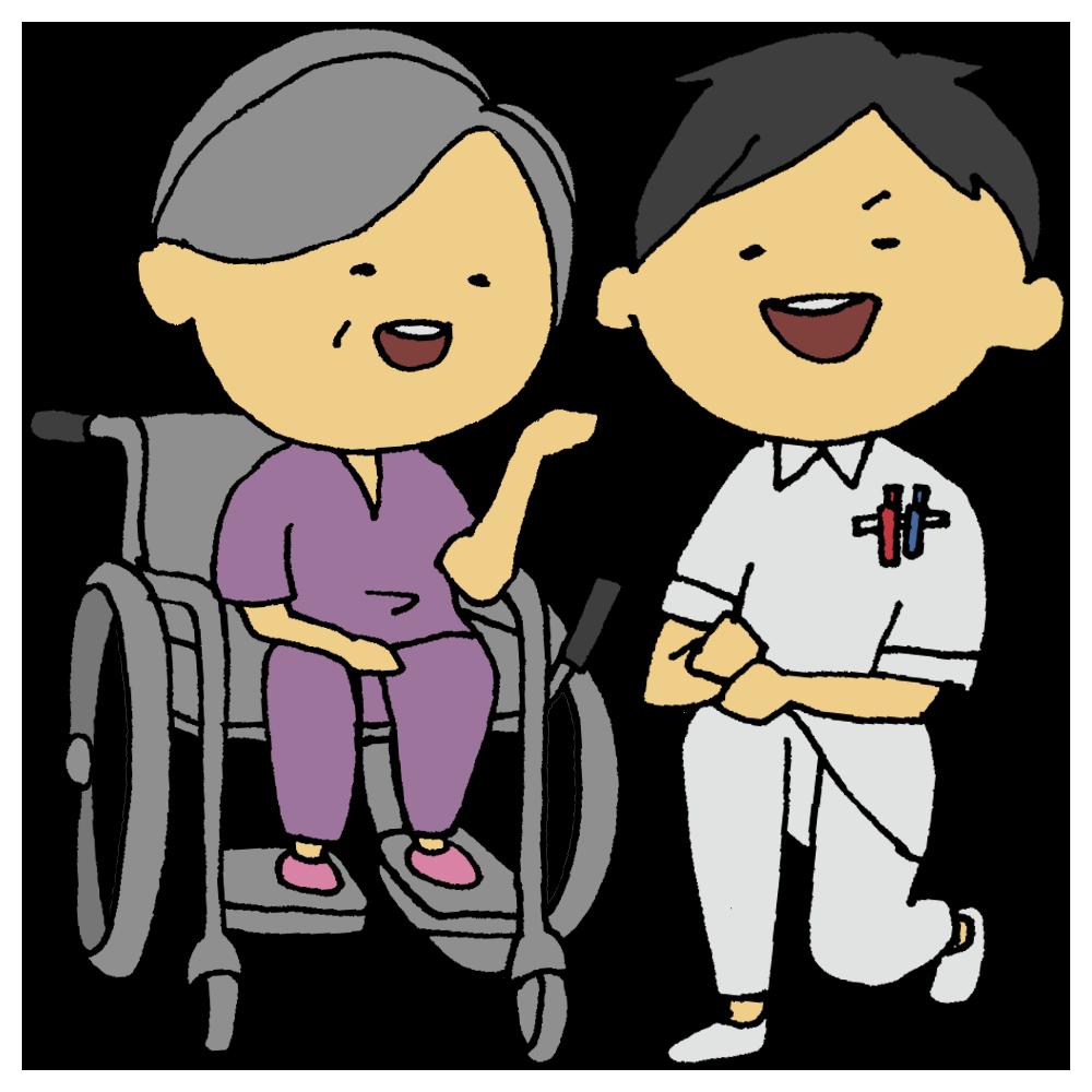 車椅子の患者さんの女性と看護師の男性のフリーイラスト