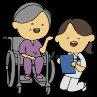 手書き風,人物,女性,仕事,働く,病院,ナース,医療,医学,看護,看護師,診療所,診察,診療所,クリニック,しゃがむ,座る,車椅子,患者,患者さん,女性,高齢,老人,白髪,足腰が弱い