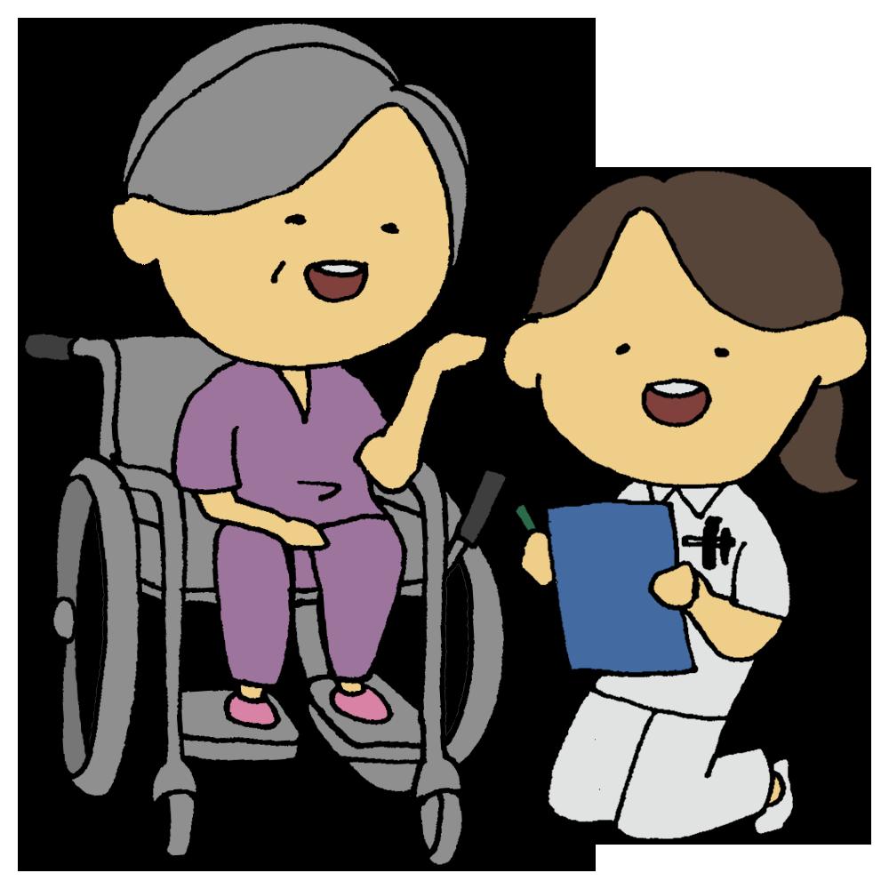 車椅子の患者さんの女性と看護師の女性のフリーイラスト