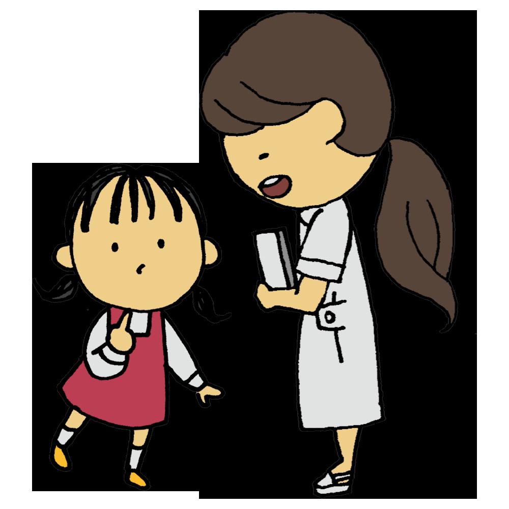 看護師の女性と小さな女の子のフリーイラスト