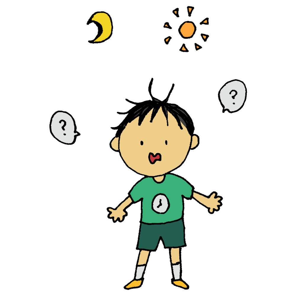 手書き風,人物,男の子,体内時計,時差,狂う,体内,時間,時計,朝,昼,昼夜逆転,夜,日中,?,何時?,今何時?,わからない