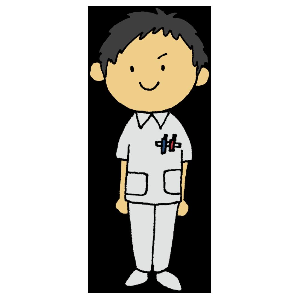 看護師の男性のフリーイラスト
