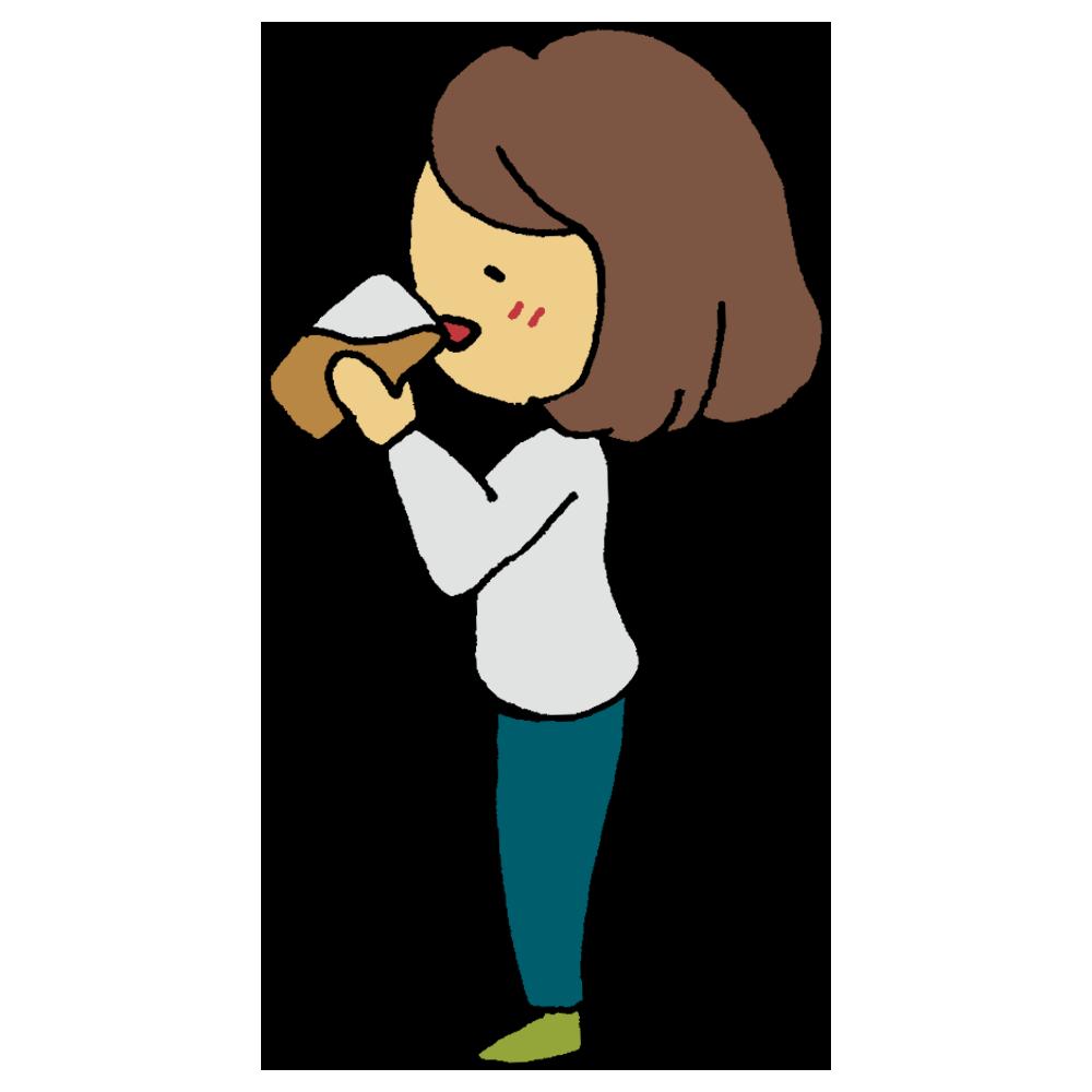 酵素ドリンクを飲む横向きの女性のフリーイラスト