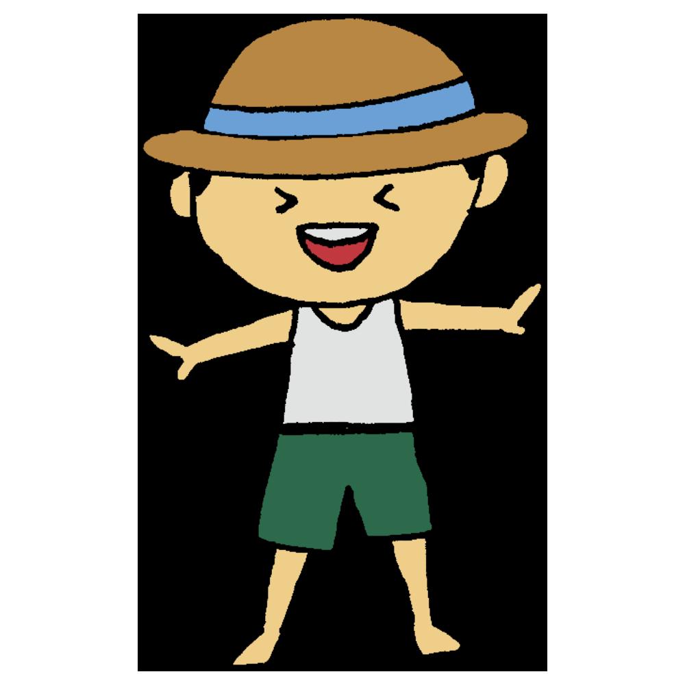 麦わら帽子を被った男の子のフリーイラスト