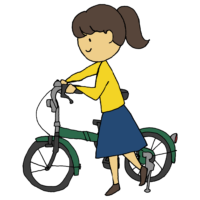 手書き風,自転車,乗り物,チャリ,ちゃりんこ,じてんしゃ,ジテンシャ,サイクリング,運動,漕ぐ,走る,進む,折り畳み自転車,折りたたみ自転車,折り畳み,おりたたみ,折りたたみ,押す,乗る,乗ろうとする,女性