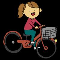 自転車に乗る女性のフリーイラスト