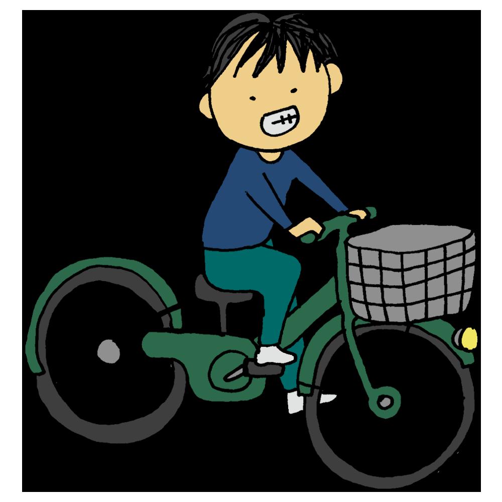 自転車に乗る男性のフリーイラスト