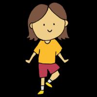 手書き風,片足,立つ,ぶれる,軸,芯,支える,バランス,バランス感覚,筋肉,足,脚,右足,女性,運動,スポーツ