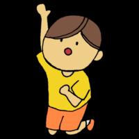 手書き風,人物,高いところ,ジャンプ,手を伸ばす,跳ねる,跳ぶ,届く,届かない,男の子