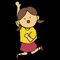 手書き風,人物,高いところ,ジャンプ,手を伸ばす,跳ねる,跳ぶ,届く,届かない,女の子