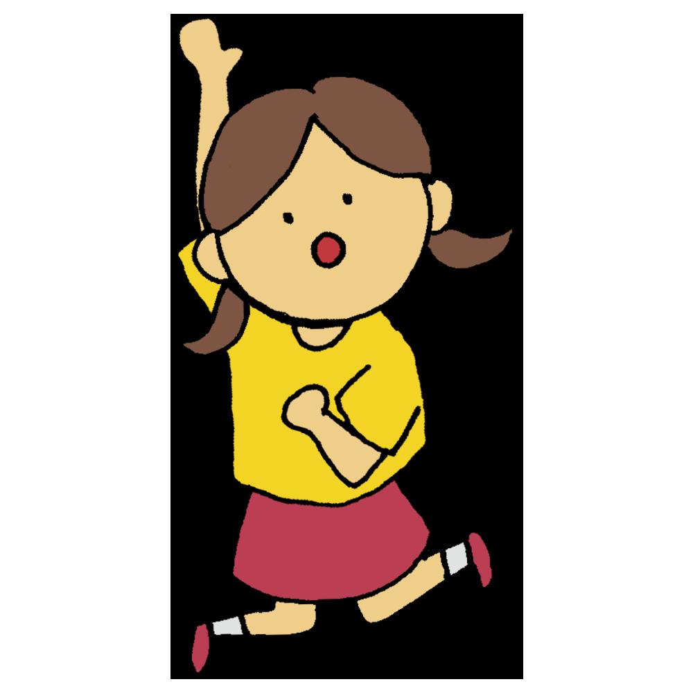 ジャンプをして高いところに手を伸ばす女の子のフリーイラスト