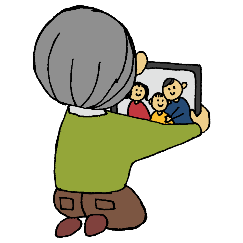 タブレットでテレビ通話をする高齢の男性のフリーイラスト