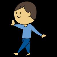 手書き風,男性,歩く,バランス,バランス感覚,ウォーキング,支える,片足,感覚,運動