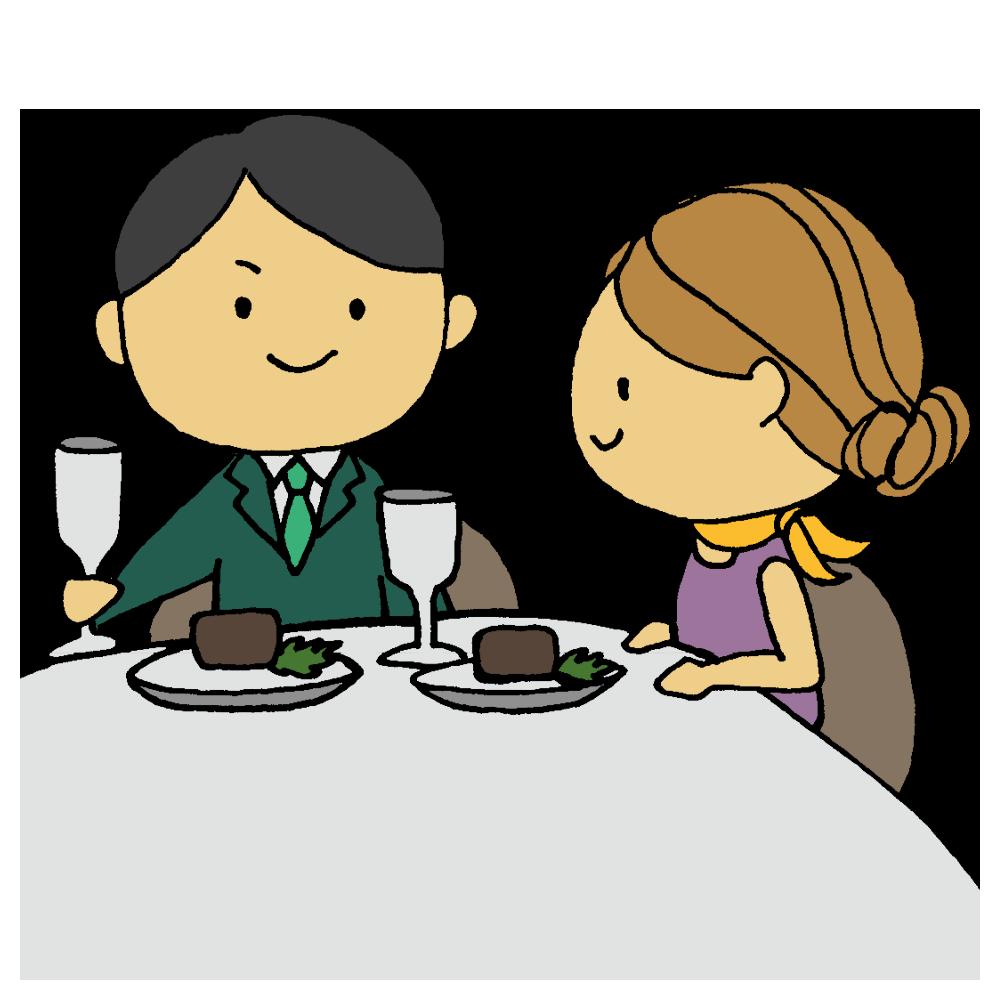 手書き風,人物,男性,女性,食事,ゴートゥーイート,GOTOEAT,食べる,レストラン,高級レストラン,美味しい,お食事,ご飯,ドレスコード,ドレス