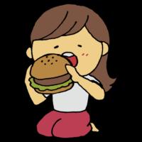ハンバーガー,手書き風,食べ物,料理,女性,人物,はんばーがー,食べる,ファストフード,パン,肉,ハンバーグ,ジャンクフード,ジャンク,美味しい