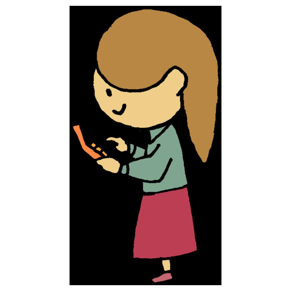 電卓をたたく女性のフリーイラスト
