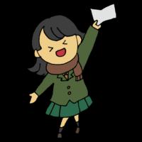 3月,中学生,人物,受かる,受験,合格,合格通知,喜ぶ,嬉しい,学生,学生服,手書き風,女子学生,女の子,高校生,制服