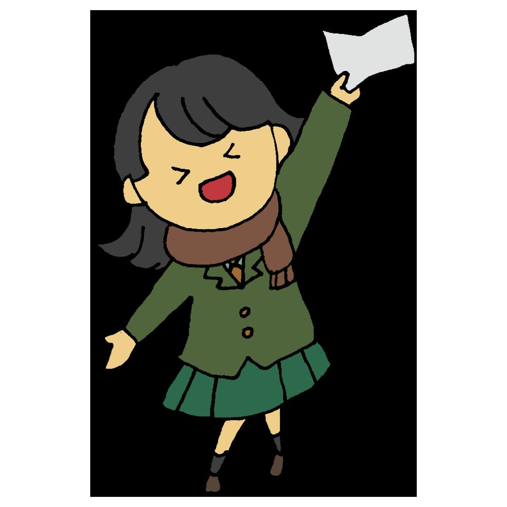 受験に合格した女子学生のフリーイラスト
