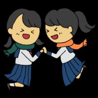 3月,中学生,人物,受かる,受験,合格,合格通知,喜ぶ,嬉しい,学生,学生服,手書き風,女子学生,女の子,高校生,制服,2人