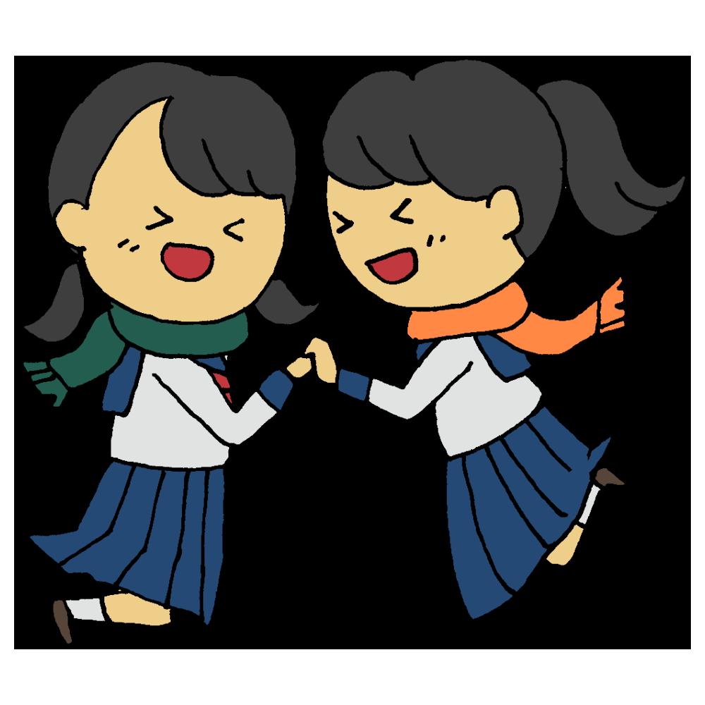 受験に合格した2人の女子学生のフリーイラスト