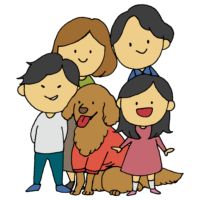 父母兄妹と愛犬の家族のフリーイラスト