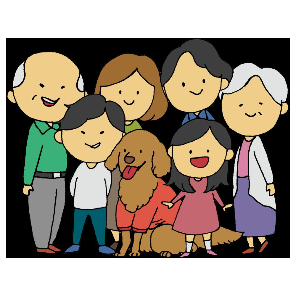 かぞく,ゴールデンレトリバー,ペット,ペットウェア,人物,仲良し,兄,兄妹,女の子,女性,妹,家族,愛犬,手書き風,母,父,犬,男の子,男性,集合,祖母,祖父