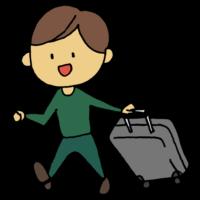 手書き風,人物,キャリーケース,キャリーバッグ,旅行,旅,泊まる,宿泊,歩く,遠出,遠距離,男性