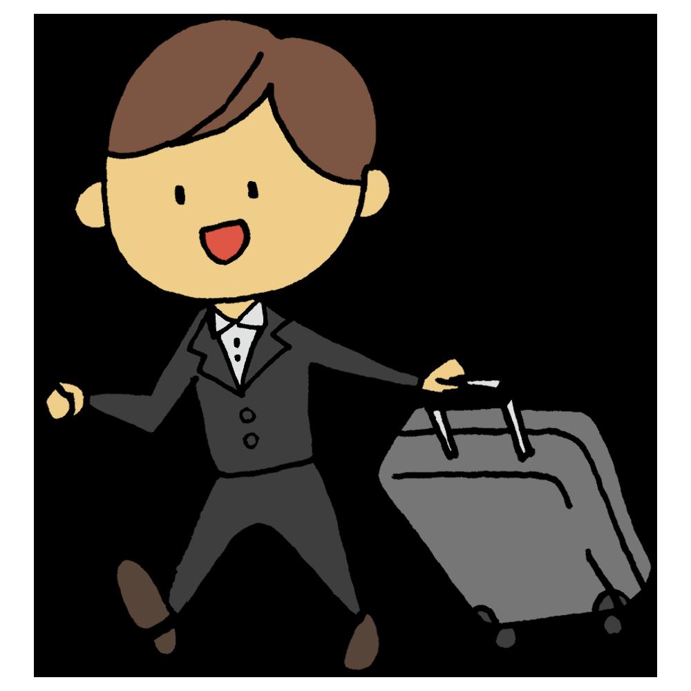 手書き風,人物,キャリーケース,キャリーバッグ,旅行,世界,旅,スーツ,仕事,働く,出張,泊まる,宿泊,男性