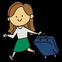 手書き風,人物,キャリーケース,キャリーバッグ,旅行,世界,旅,働く,出張,泊まる,宿泊,女性