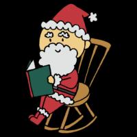 手書き風,人物,物語,サンタクロース,サンタさん,サンタ,Xmas,Christmas,クリスマス,12月,12月24日,12月25日,イベント,冬,本,読む,読書,椅子