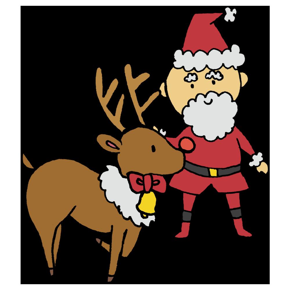 サンタクロースとトナカイのフリーイラスト
