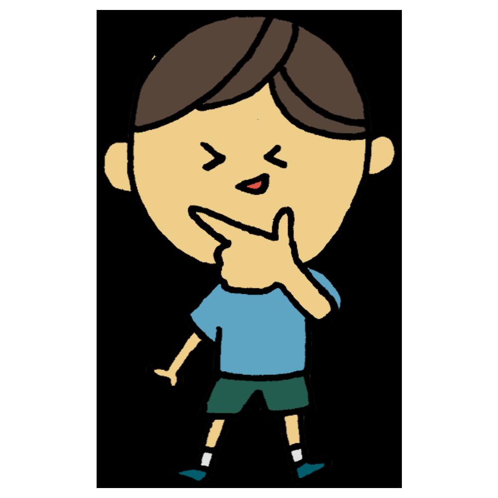 手書き風,人物,男の子,キラーン,ポーズ,指,人差し指,親指