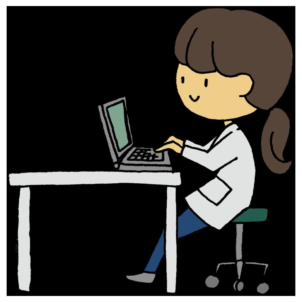 手書き風,人物,女性,パソコン,PC,パーソナルコンピューター,操作,機械,使う,いじる,仕事,働く,白衣,栄養士,医療従事者,医療