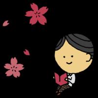 手書き風,人物,男性,読書,本,読む,本を読む,桜,4月,春,花,植物,書物