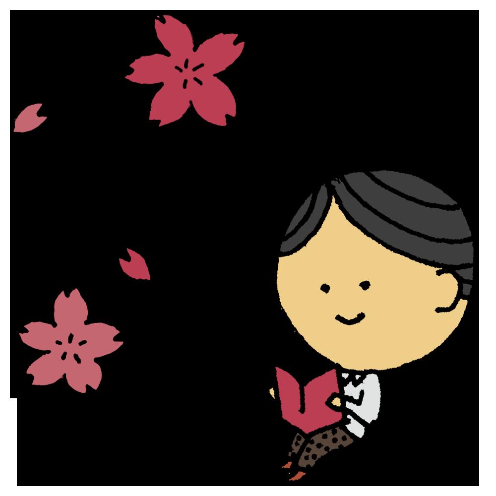 桜の下で読書をする男性のフリーイラスト