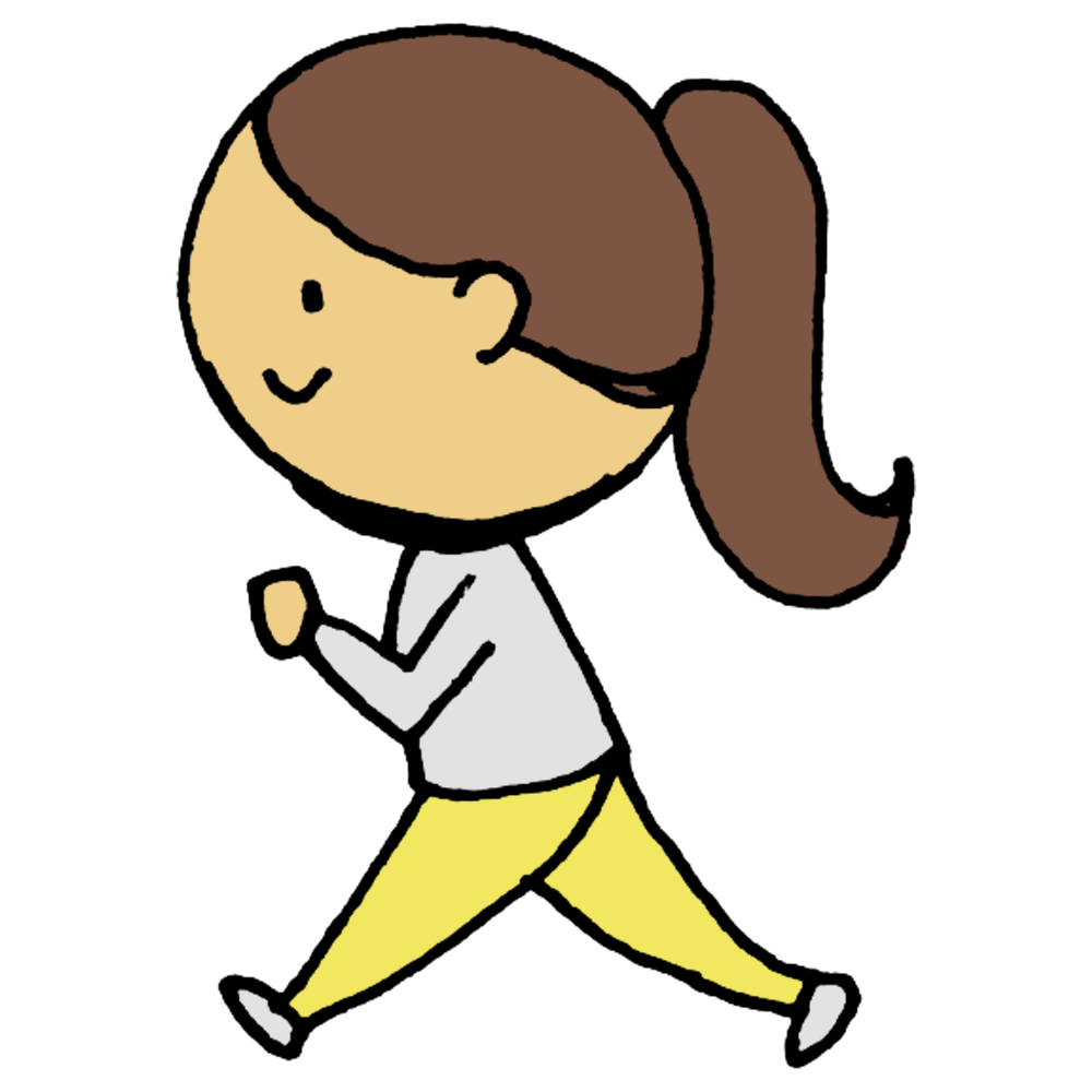 手書き風,人物,歩く,横向き,女性,ウォーク,ウォーキング,健康,運動,スポーツ,あるく,アルク